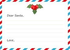 Lettera del ` s del nuovo anno della busta del modello a Santa Claus Illustrazione di vettore Progettazione piana Fotografia Stock