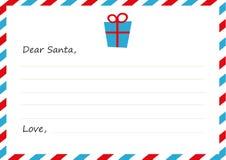Lettera del ` s del nuovo anno della busta del modello a Santa Claus Regalo dell'icona Illustrazione di vettore Progettazione pia Immagine Stock