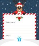 Lettera del ` s del nuovo anno della busta del modello a Santa Claus sveglia con l'icona Immagine Stock
