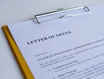 Lettera dell'offerta fotografie stock libere da diritti