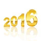 Lettera 2016 dell'oro Fotografie Stock