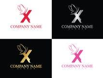 Lettera x dell'oro con il bello modello di logo dell'ala Immagine Stock