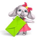 Lettera della tenuta del fumetto della neonata dell'elefante, rappresentazione 3d illustrazione di stock