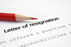 Lettera delle dimissioni Fotografia Stock Libera da Diritti
