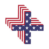 Lettera di alfabeto della bandiera 3d di U.S.A. più Fonte strutturata Immagini Stock Libere da Diritti