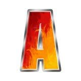 Lettera A di alfabeto delle fiamme Fotografie Stock