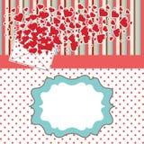 Lettera di amore con i biglietti di S. Valentino dei cuori. DES dei biglietti di S. Valentino Fotografia Stock