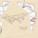 Lettera di amore con i fiori Illustrazione Vettoriale