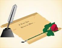 Lettera di amore dell'inchiostro della spoletta della Rosa Fotografie Stock