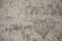 Lettera di amore della sabbia Fotografie Stock