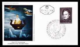 Lettera di busta primo giorno stampata dall'Austria fotografie stock libere da diritti
