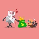Lettera di debito del fumetto che ottiene soldi da un uomo anziano Fotografia Stock