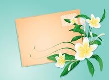 Lettera di estate con i fiori esotici Fotografia Stock