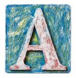 Lettera di legno A di alfabeto Fotografia Stock Libera da Diritti