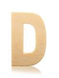Lettera di legno di alfabeto di D isolata Fotografie Stock
