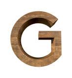 Lettera di legno realistica G isolata su fondo bianco Immagini Stock Libere da Diritti