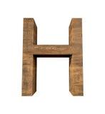 Lettera di legno realistica H isolata su fondo bianco Immagine Stock Libera da Diritti