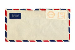 Lettera di posta aerea e timbro postale Fotografia Stock