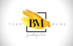Lettera dorata Logo Design del BM con il colpo creativo della spazzola dell'oro royalty illustrazione gratis