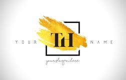 Lettera dorata Logo Design del TH con il colpo creativo della spazzola dell'oro Fotografie Stock