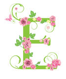 Lettera E con le rose illustrazione di stock