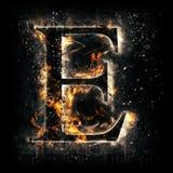 Lettera E del fuoco Fotografia Stock
