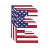 Lettera E di alfabeto latino della bandiera 3d di U.S.A. Fonte strutturata Fotografie Stock Libere da Diritti