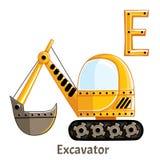 Lettera E di alfabeto di vettore escavatore Immagine Stock
