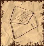 Lettera e foto in busta Immagini Stock