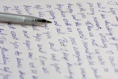 Lettera e penna Fotografia Stock