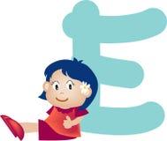 Lettera E (ragazza) di alfabeto illustrazione vettoriale