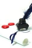 Lettera ed a penna ed inchiostro con i cuori rossi Immagini Stock