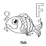 Lettera F, pagina di coloritura di alfabeto di vettore Pesce Fotografia Stock