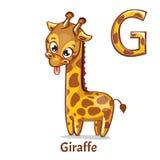 Lettera G di alfabeto di vettore giraffe Fotografie Stock