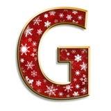 Lettera G di natale nel colore rosso Fotografia Stock Libera da Diritti