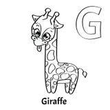 Lettera G, pagina di coloritura di alfabeto di vettore giraffe Royalty Illustrazione gratis