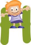 Lettera H (ragazzo) di alfabeto illustrazione di stock