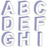 Lettera A-I dell'illustrazione 3D Fotografie Stock Libere da Diritti