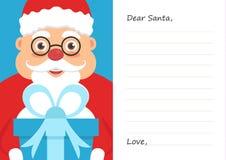 Lettera il caro Babbo Natale per il Buon Natale o il nuovo anno Cartolina o modello della cartolina d'auguri piano Fotografia Stock Libera da Diritti