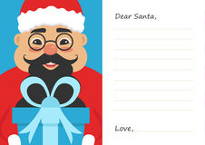 Lettera il caro Babbo Natale per il Buon Natale o il nuovo anno Maschio asiatico sveglio Cartolina o modello della cartolina d'au Immagine Stock Libera da Diritti