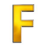 Lettera isolata f in oro lucido Fotografia Stock