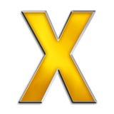 Lettera isolata X in oro lucido Immagini Stock Libere da Diritti