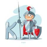 Lettera K con il cavaliere divertente Fotografia Stock