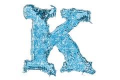 Lettera K, dell'acqua rappresentazione 3D Fotografia Stock Libera da Diritti