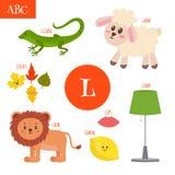 Lettera L Alfabeto del fumetto per i bambini Leone, agnello, lampada, permesso Fotografia Stock