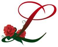 Lettera L illustrazione floreale rossa Immagine Stock