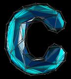 Lettera latina capitale C nel colore blu di poli stile basso isolato su fondo nero Immagini Stock Libere da Diritti