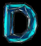 Lettera latina capitale D nel colore blu di poli stile basso isolato su fondo nero Immagine Stock