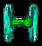 Lettera latina capitale H nel colore verde di poli stile basso isolato su fondo nero Immagini Stock Libere da Diritti