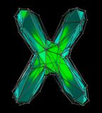 Lettera latina capitale X nel colore verde di poli stile basso isolato su fondo nero Fotografia Stock